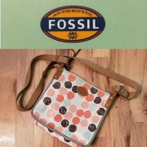 Like NEW! Fossil Polkadot Crossbody Vinyl Purse